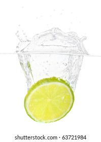 Slice of a lime in water.