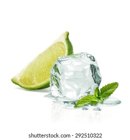 Slice of lime wedge, ice and mint isolated on white background