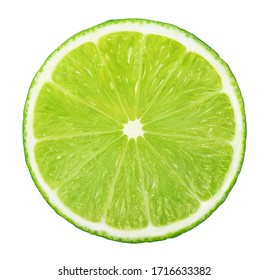 Slice of lime without shadow isolated on white background - Shutterstock ID 1716633382