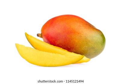 slice mango isolated on white background