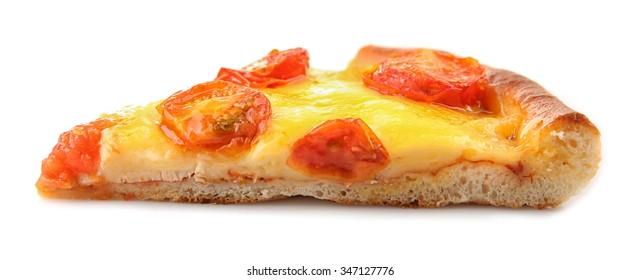 Slice of Margherita pizza, isolated on white