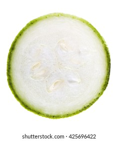 Slice of marrow squash isolated on white with clipping path