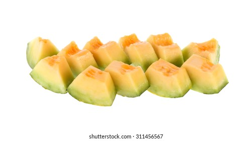 slice of Muskmelons isolated on white background
