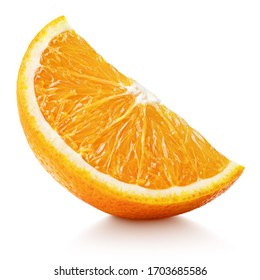 Slice of orange citrus fruit stand isolated on white background with clipping path. Full depth of field.