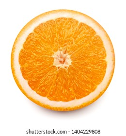 Slice orange fruit isolated on white background with clipping path. Creative healthy food concept. Nature, juice. Flat lay, top view