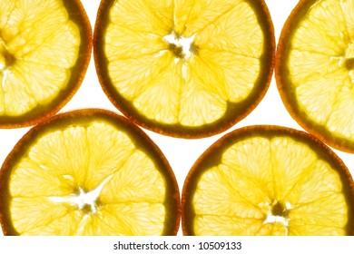 Slice of an orange isolated on white
