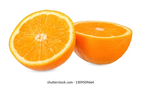Slice orange isolated on white with clipping path