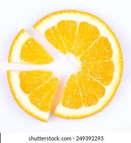 slice of orange isolated on white background. fruit pie chart