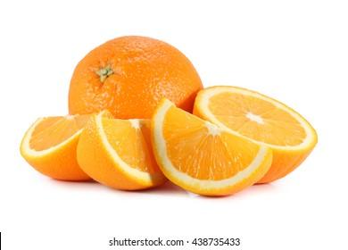 slice of orange isolated on white background