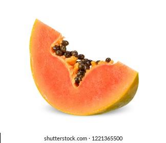 Slice papaya isolated on white clipping path.