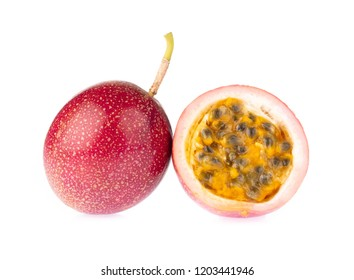 Slice of Passion fruit isolated on the white background.