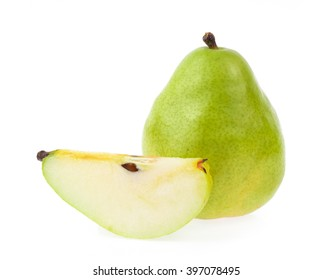 slice of pears isolated on white background