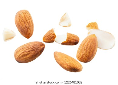 slice peeled Almond nut Blast scattered broken with explosion raw almonds on white isolated