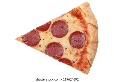 Slice of a Pepperoni Pizza isolated on white background