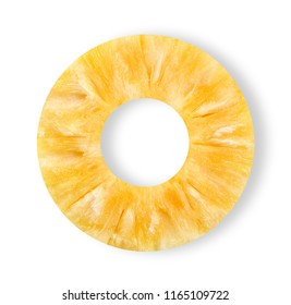 Slice pineapple isolated on white clipping path.
