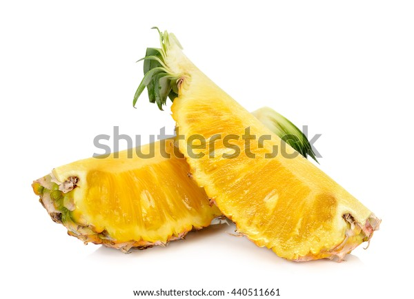 Slice of pineapple isolated on white background.