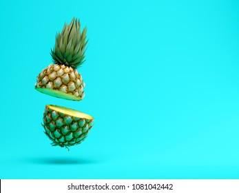slice pineapple on blue background 3D rendering