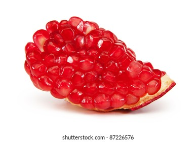 a slice of pomegranate isolated on white background