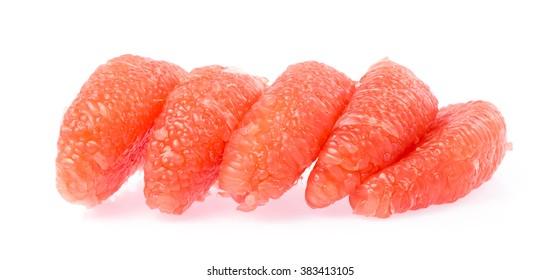 slice pomelo citrus fruit isolated on white background