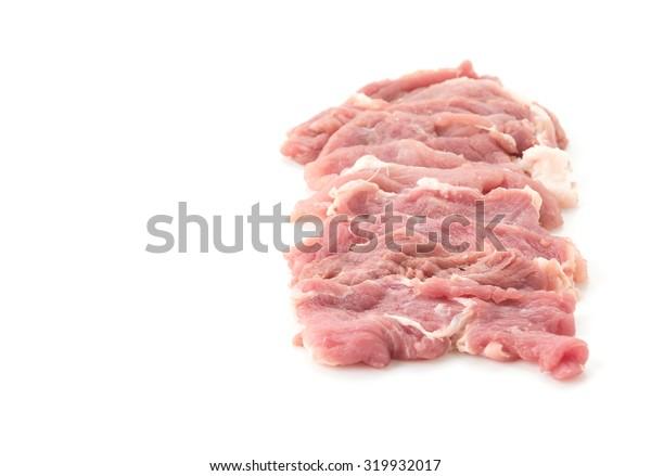 slice pork on white background