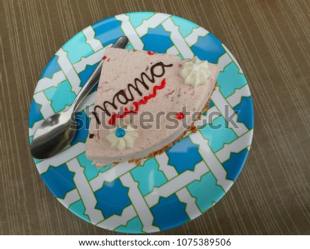 Slice Portion Of Pink Birthday Or Mothers Day Cake Strawberry Mouse Flavour With Chocolate Message