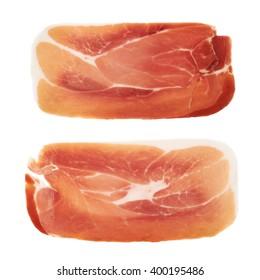 Slice of a prosciutto ham isolated