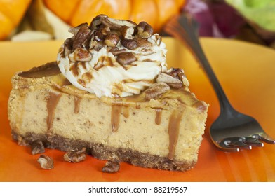 A slice of pumpkin cheesecake