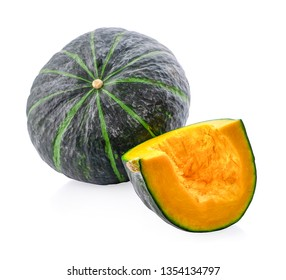 Slice of pumpkin isolated on white background