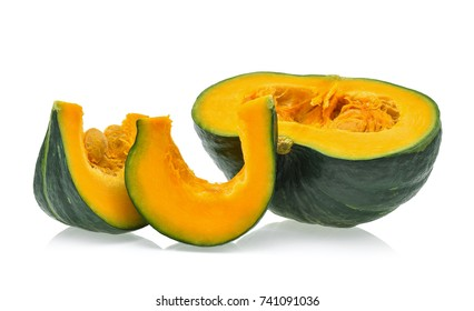 Slice of pumpkin isolated on white background.