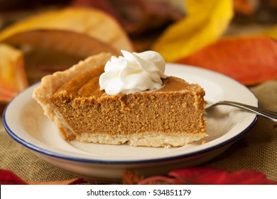 A slice of pumpkin pie with whipped cream topping on a white plate with blue rim, a fork and autumn leaves