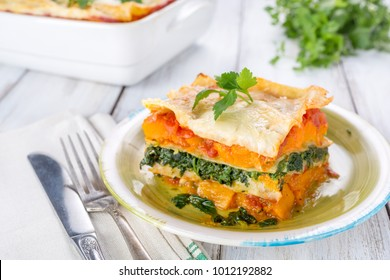 Slice of Pumpkin and Spinach Lasagne close up