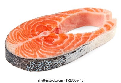 slice of raw fish, salmon, trout, steak, isolated on white background, clipping path, full depth of field
