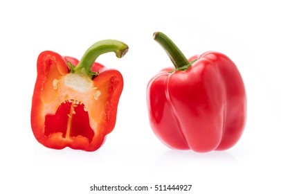 slice red Bell Pepper isolated on white background