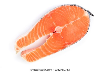 Slice of red fish salmon isolated on white background. Top view. Flat lay
