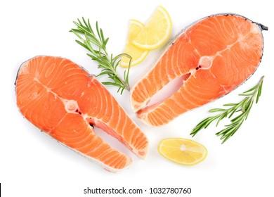 Slice of red fish salmon with lemon and rosemary isolated on white background. Top view. Flat lay