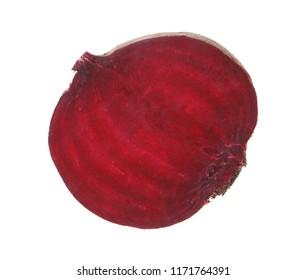 Slice of ripe beet on white background