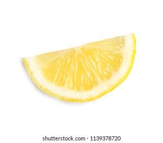 Slice of ripe lemon on white background, top view