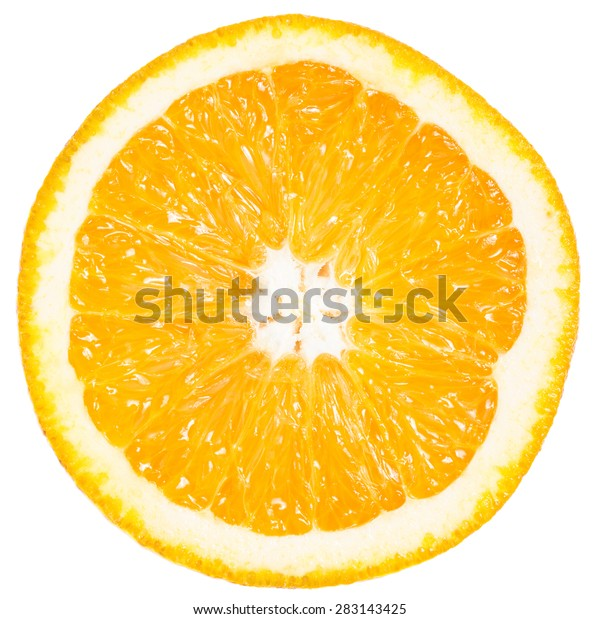Slice of ripe orange isolated on white