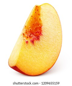 Slice of ripe peach fruit isolated on white background. Peach slice with clipping path. Full depth of field.