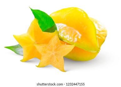 Slice ripe star fruit also called Carambola or Star apple or Star fruit on white background, healthy fruit food isolated