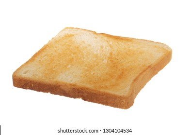 slice of roasted bread for sandwich isolated on white background