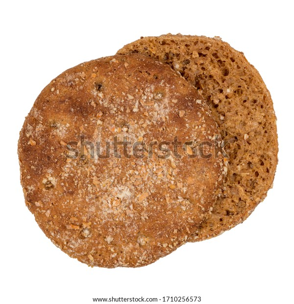 Slice of round rye bread isolated on a white background