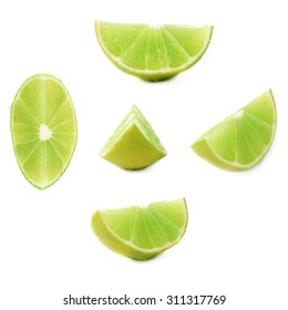 Slice section of green lime isolated over the white background, set of different foreshortenings