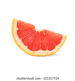 Slice section of ripe grapefruit isolated over the white background