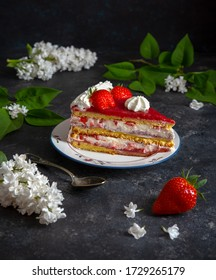 Slice of strawberry cake for a festive event or just a treat for the spring