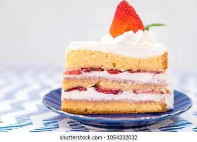 slice Strawberry Cake top with fresh strawberry