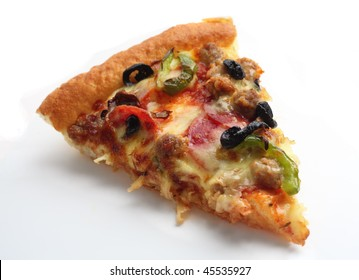 """A slice of """"supreme"""" pizza over a white background with a light shadow"""