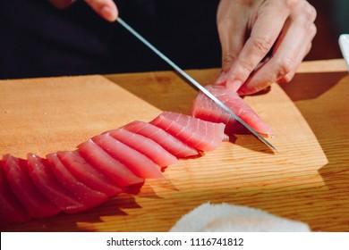 slice sushi Japanese food cutting cooking