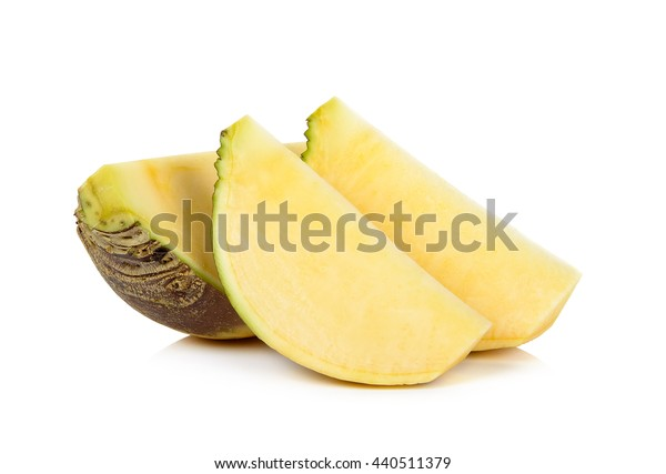 Slice of Swede isolated on the white background.