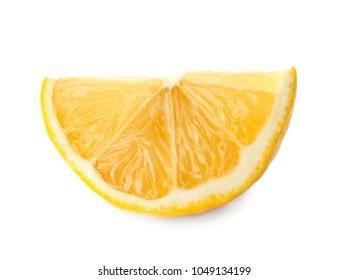 Slice of tasty lemon on white background